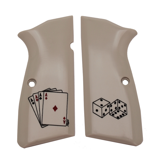 Hogue Hogue Browning Hi-Power Scrimshaw Ivory Polymer Grip Panels Aces 09021