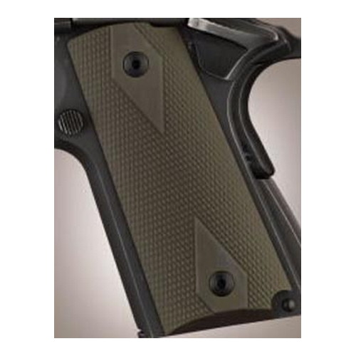 Hogue Hogue Colt & 1911 Officer's Grips Checkered Aluminum Matte Green Anodized 43171