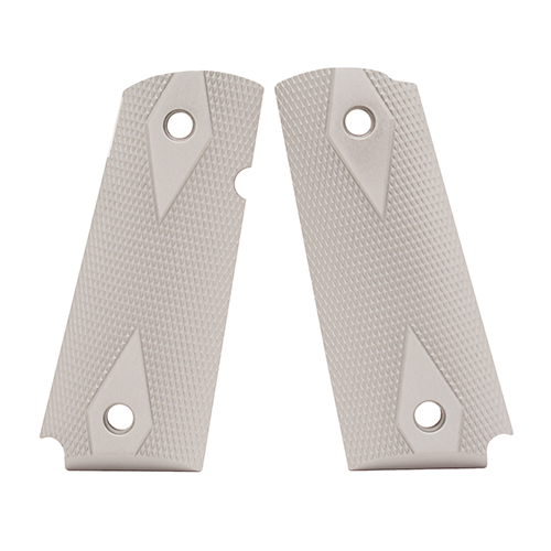 Hogue Colt & 1911 Officer's Grips Checkered Aluminum Matte Clear Anodized 43174
