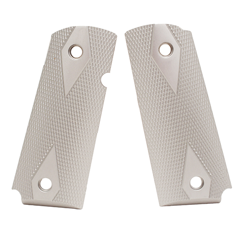 Hogue Colt & 1911 Officer's Grips Checkered Aluminum Brushed Gloss Clear Anodized 43175
