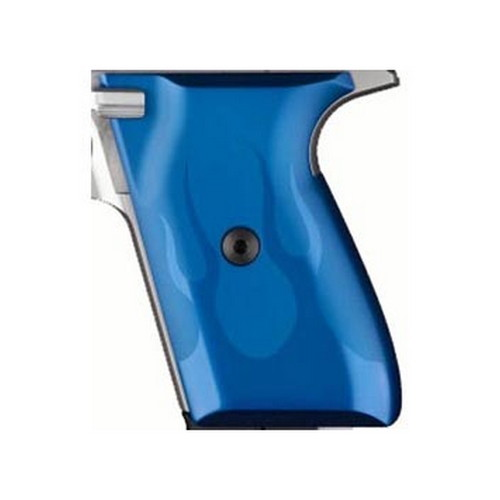 Hogue Hogue Colt & 1911 Government S&A Mag Well Grips Flame, Aluminum Blue Anodized 45123