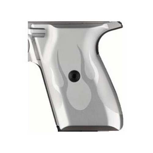 Hogue Hogue Colt & 1911 Government S&A Mag Well Grips Flame, Aluminum Clear Anodized 45124