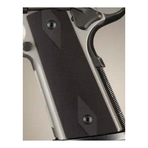Hogue Hogue Colt & 1911 Government S&A Mag Well Grips Checkered Aluminum Matte Black Anodized 45150