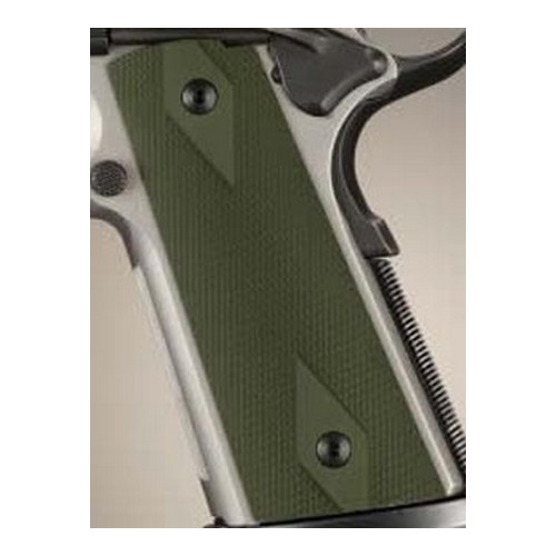 Hogue Hogue Colt & 1911 Government S&A Mag Well Grips Checkered Aluminum Matte Green Anodized 45151