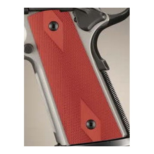 Hogue Colt & 1911 Government S&A Mag Well Grips Checkered Aluminum Matte Red Anodized