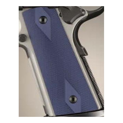 Hogue Hogue Colt & 1911 Government S&A Mag Well Grips Checkered Aluminum Matte Blue Anodized 45153