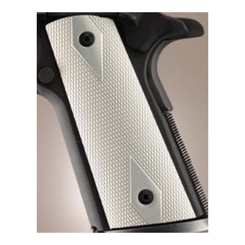 Hogue Colt & 1911 Government S&A Mag Well Grips Checkered Aluminum Brushed Gloss Clear Anodized