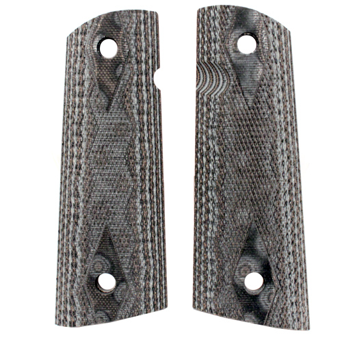 Hogue Hogue Colt & 1911 Government S&A Mag Well Grips Checkered G-10 G-Mascus Black/Grey 45157-BLKGRY