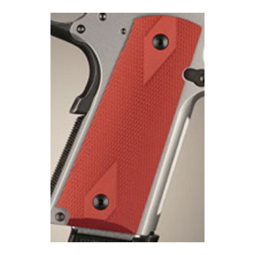 Hogue Hogue Colt & 1911 Government Grips Checkered Aluminum Matte Red Anodized 45172
