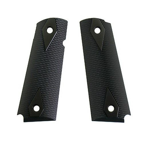 Hogue Hogue Extreme Series Grips Checkered Aluminum, Gloss Black Anodized, Government 45176