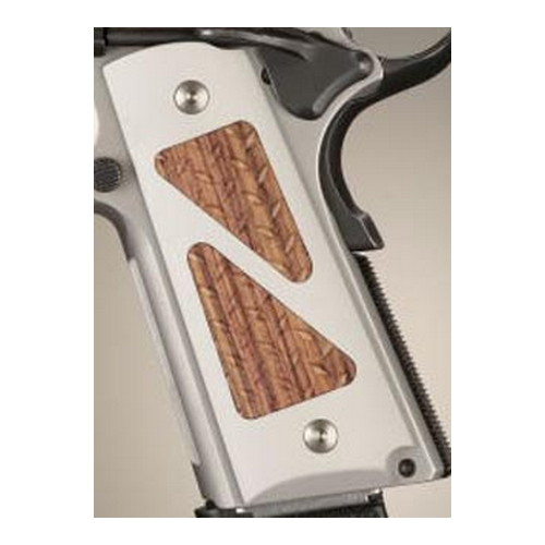Hogue Hogue Colt & 1911 Government Grips Hybrid Aluminum Matte clear Anodized Kingwood Insert 45184