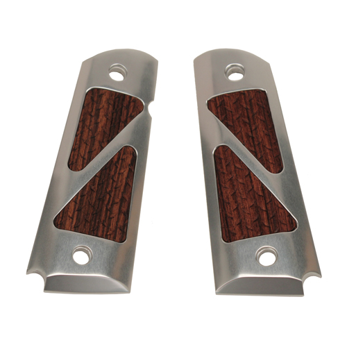 Hogue Hogue Colt & 1911 Government Grips Hybrid Aluminum Brushed Gloss Clear Kingwood Insert 45185