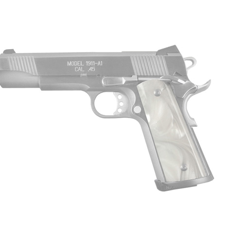 Hogue Colt & 1911 Government S&A Mag Well Grips White Pearl Ambidextrous Cut 45338