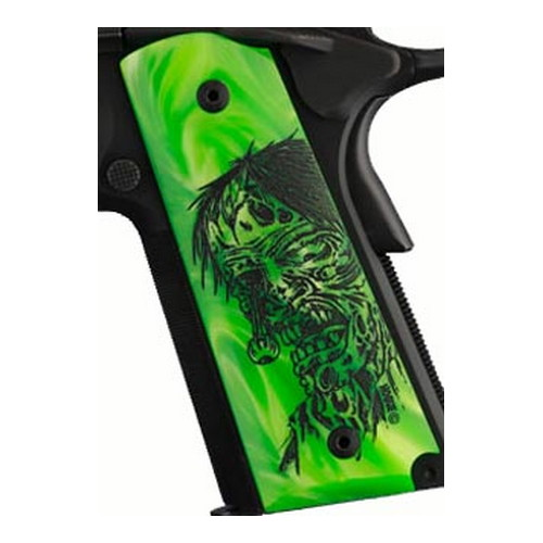 Hogue Colt & 1911 Government Grips Pearl Ambidextrous Safety Cut, Zombie Green
