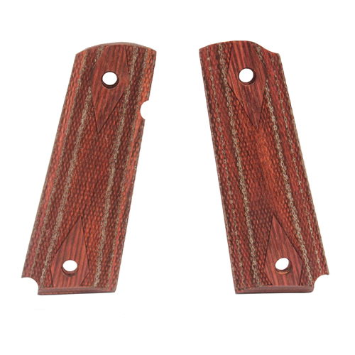 Hogue Colt & 1911 Government Grips Rosewood Laminate Ambidextrous Safety Cut, Checkered 45521