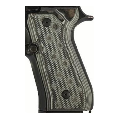 Hogue Hogue Beretta 92 Grips Checkered G-10 G-Mascus Black/Grey 92177-BLKGRY