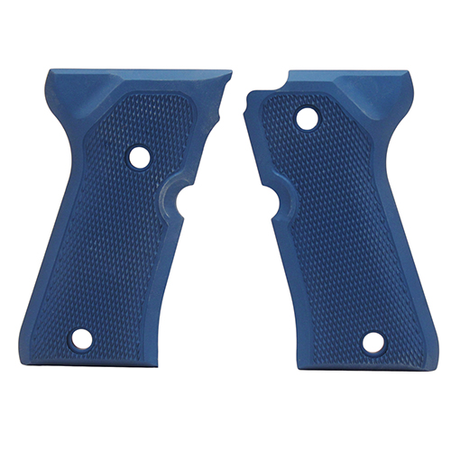 Hogue Hogue Beretta 92 Compact Grips Checkered Aluminum Matte Blue Anodized 93173
