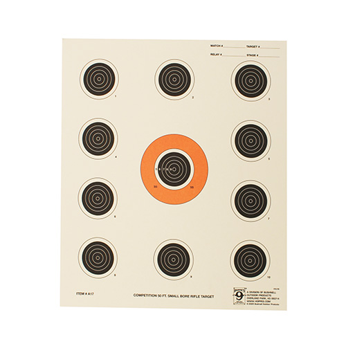 Hoppes Hoppes Rifle Target 50ft Eleven Bulls A17 (20 pack) A17