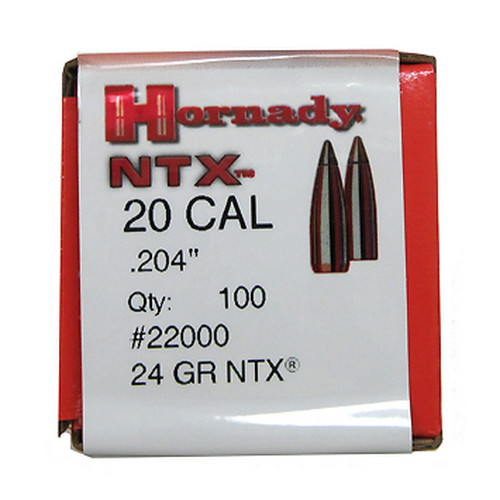 Hornady 20 Caliber Bullets (.204) 30 Gr NTX (100/Box)