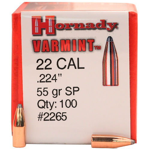 Hornady 22 Caliber Bullets (.224) 55 Gr SP (Per 100)