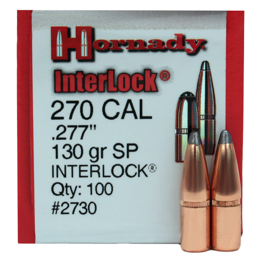 Hornady 270 Caliber Bullets 130 Gr SP (Per 100)