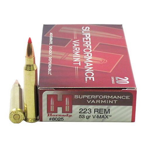 Hornady Hornady Superformance Varmint 223 Remington V-Max 53 Gr. 20 Rounds 8025