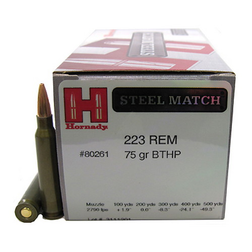 Hornady Hornady 223 Remington Ammunition by 75 Gr, BTHP Steel Match/50 80261