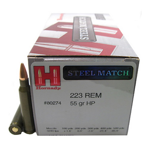 Hornady 223 Remington Ammunition by Hornady 55 Gr, HP Steel Match/50