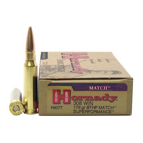 Hornady Hornady 308 Winchester by 178gr Boat Tail Hollow Point Match (Per 20) 8077