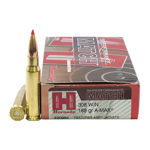 Hornady 308 Winchester by Hornady 168gr A-MAX Superformance Match/20