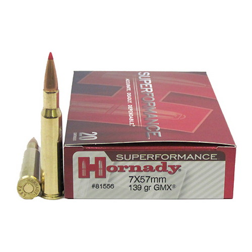 Hornady 7x57 Ammunition by Hornady Superformance 139 GR GMX  (Per 20)