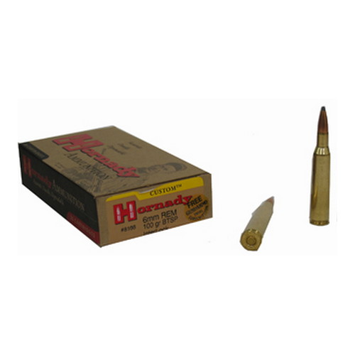 Hornady Hornady 6mm Remington by 6mm Remington, 100 Gr, BTSP, (Per 20) 8166