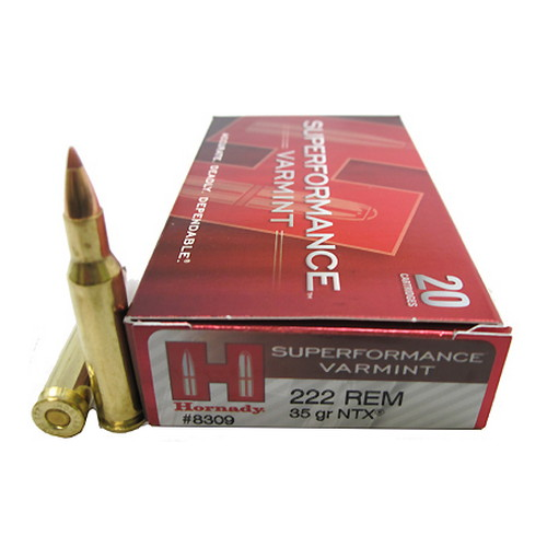 Hornady Hornady 222 Remington Ammunition by Superformance Varmint, 35 Gr, NTX/20 8309