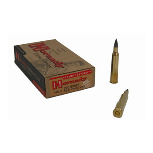 Hornady Hornady 220 Swift Ammunition by 50 Grain V-Max Moly (Per 20) 83213