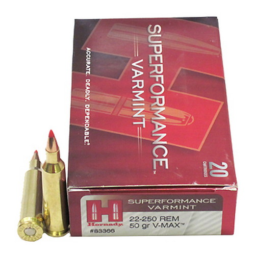 Hornady Hornady 22-250 Remington Ammunition by 50 Gr V-Max Superformance