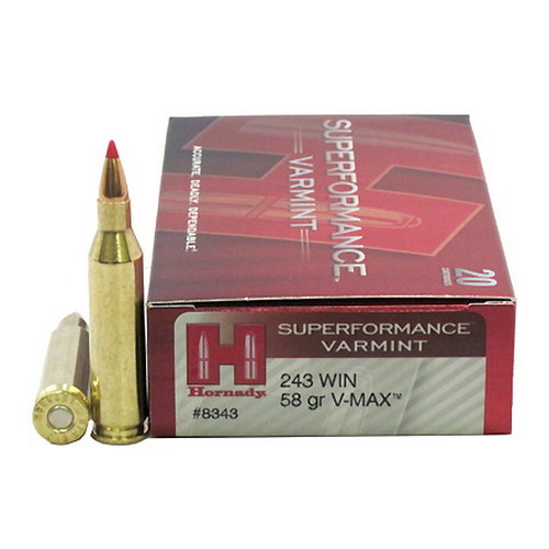 Hornady Hornady 243 Winchester by 243 Winchester, 58 Gr Superformance Varmint, V-Max (20 Rounds Per Box) 8343