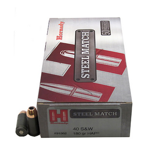 Hornady Hornady 40 Smith & Wesson by 180Gr, HAP Steel Match/50 91362