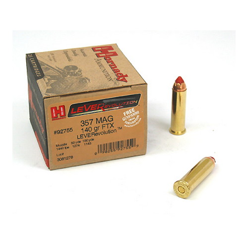 Hornady Hornady 357 Magnum by 357Mag, Leverevolution, 140gr, FTX, (Per 25) 92755