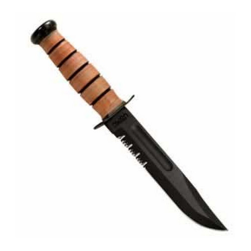 Ka-Bar Ka-Bar US Military Fighting/Utility Knife USMC, Serrated Edge, With Leather Sheath 2-1218-5