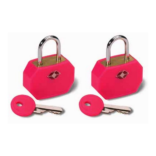 Humangear Travel Sentry Mini Padlock, 2 Pack Neon Pink