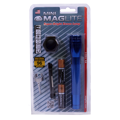 Maglite Maglite Mini-Mag Flashlight AA Combo Pack Blister Pack, Blue M2A11C
