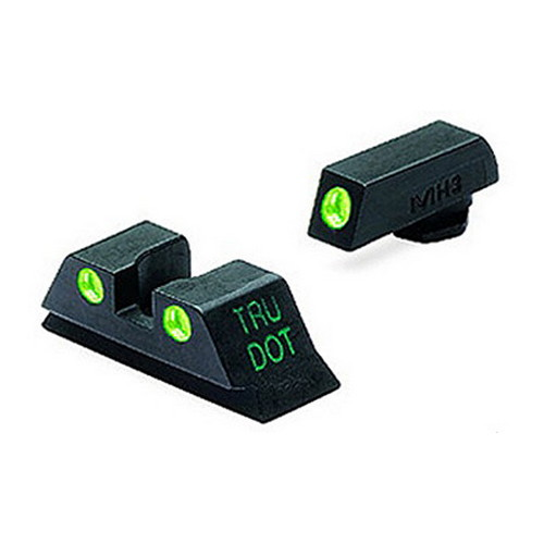 Mako Group Glock - Tru-Dot Sights 9mm/357 Sig/.40 S&W/.45 GAP, Green/Green, Fixed Set