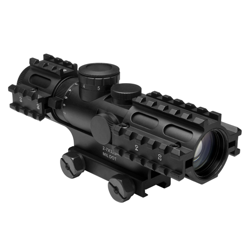 NcStar NcStar Tactical 3-Rail Sighting System 2-7x32/Blue Illuminated Mil-Dot/Green/Weaver Mount SEC3RSM2732G