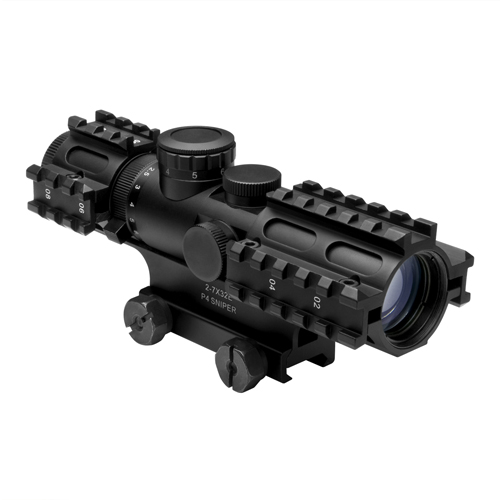 NcStar NcStar 2-7x32 Scope/3-Rail/Blue Illuminated P4/Green/Weaver Mount SEC3RSP2732G
