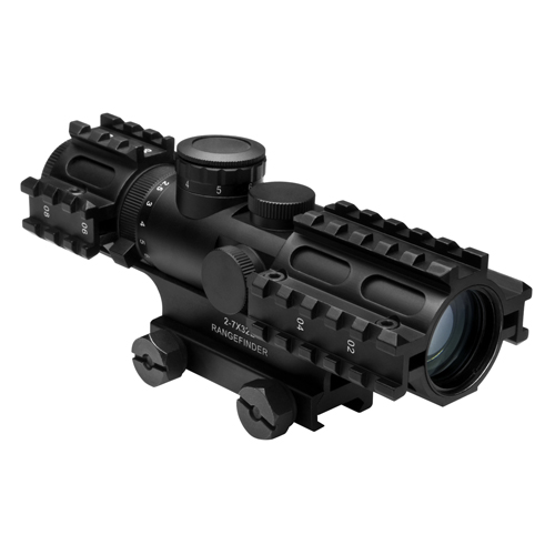 NcStar NcStar Tactical 3-Rail Sighting System 2-7x32/Blue Illuminated Rangefinder/Green/Weaver Mount SEC3RSR2732G