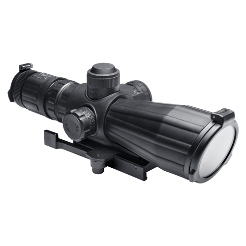 NcStar NcStar Rubber Armored Mark III Tactical Scope 3-9x42 Compact with Red Laser, Blue Illuminated Mil-Dot Reticle SRTM3942G