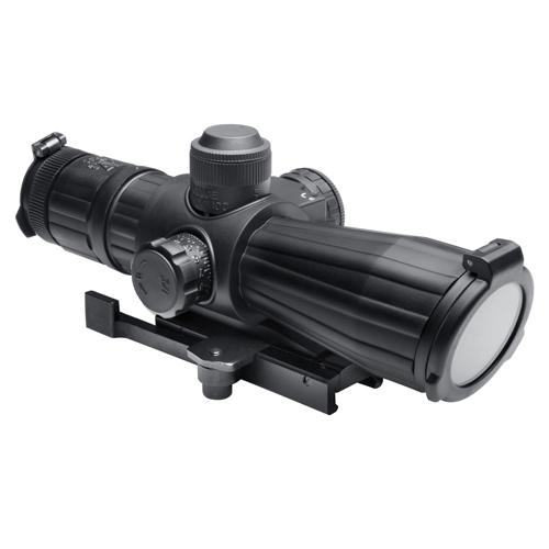 NcStar NcStar Mark III Rubber Tactical Series Scope 4x32 Rubber Compact Red Laser, Mil-Dot Reticle SRTM432G