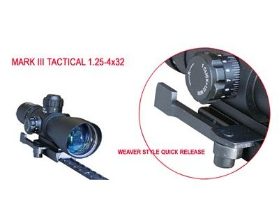 NcStar Mark III Tactical Scope Series 1.25-4x32 Compact Red/Green Illuminated P4 AR15 Mount STPAQ125432G