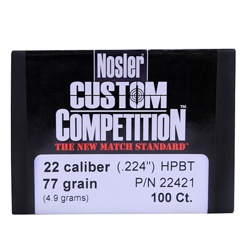 Nosler 22 Caliber (.224) 77 Gr Hollow Point Boat Tail Custom Competition (Per 100)