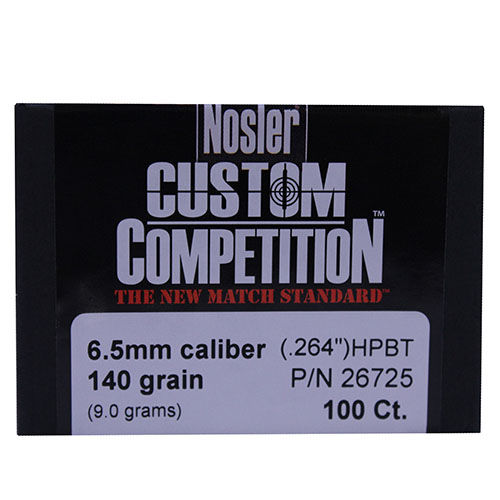 Nosler 6.5mm/264 Caliber 140 Gr. Hollow Point Boat Tail (Per 250)